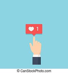 評価, 愛, のように, 指すこと, 心, 寄付, 通知, 媒体, 手, 通知, 社会, 泡