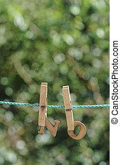 詞, 不, 寫, 所作, 垂懸, 木制, 信件, 上, 繩子, 在, 花園