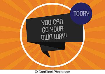 詞, 寫, 正文, 你, 罐頭, 去, 你, 自己, way., 生意概念, 為, 做, 事情, 相象, 你, 認為, 他們, 如果, 是, 做, 摺疊, 3d, 帶子, 剝去, 裡面, 環繞, 圈, 上, halftone, sunburst, photo.