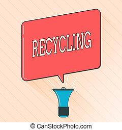 詞, 寫, 正文, recycling., 生意概念, 為, 轉換, 浪費, 進, 再利用, 材料, 保護, the, 環境