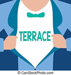 詞, 寫, 正文, terrace., 生意概念, 為, 水平, 鋪, 區域, 在旁邊, 建築物, 院子, 地方, 使用, 為, 培養