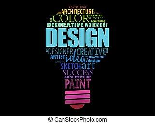 詞, 拼貼藝術, 光, 設計, 燈泡, 雲