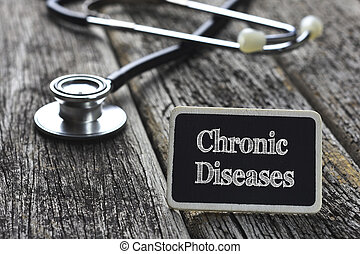 詞, 疾病,  concept-, 醫學, 慢性, 寫, 木頭, 聽診器, 背景, 黑板