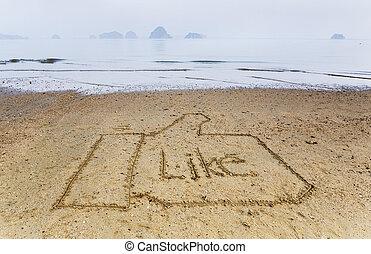 詞, 相象, 寫, 在沙子中, 在海灘上