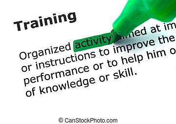 詞, 訓練, 突出, 在, 綠色
