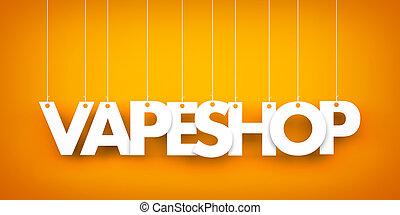 詞, vape, 插圖, 背景。, 懸挂, 橙, 3d