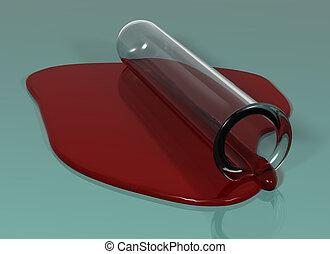 試験管, こぼされる, 血