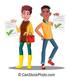 試験, 優秀である, 隔離された, イラスト, ペーパー, 結果, 学生, 保有物, テスト, 幸せ, vector.