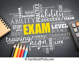 試験, 単語, 雲, 概念, コラージュ, 教育