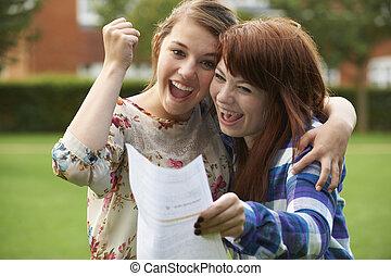 試験, 女の子, ティーンエージャーの, 祝う, 結果, よい