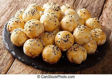 詰められる, 横, tau, 豆, sar, 玉ねぎ, 伝統的である, ビスケット, mung, close-up., ...