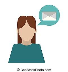 話し, について, 女, 電子メール
