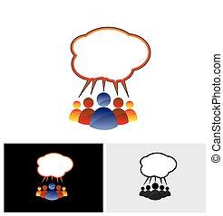 話し, カラフルである, コミュニケートする, 人々, 談笑する, ベクトル, アイコン