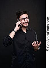 話し, クライアント, 電話