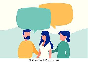 話し, グループ, 特徴, 人々