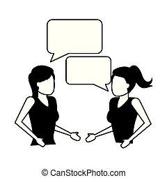 話し, スピーチ泡, 女性