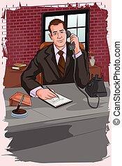 話し, ビジネスマン, レトロ, 電話