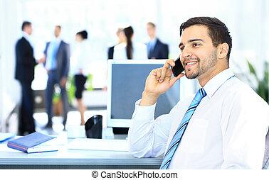 話し, ビジネスマン, 電話