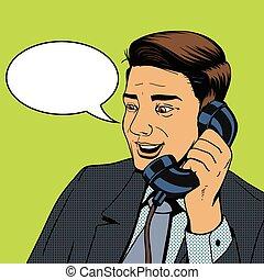 話し, ベクトル, ビジネスマン, 電話