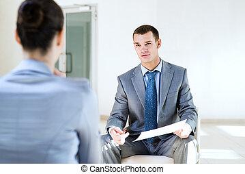 話し, 仕事, 女, ビジネスマン