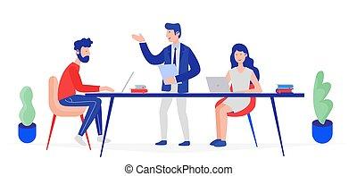 話し, 会社, illustration., 人々, 考え, meeting., 販売, 技能, analytics, ベクトル, ブレーンストーミング, チーム, 作成, 増加