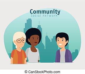 話し, 友情, 協力, サービス, 人々
