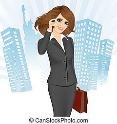 話し, 女性実業家, 電話