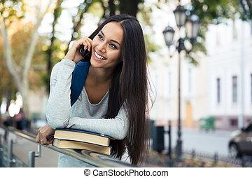 話し, 女性, 電話, 学生, 朗らかである
