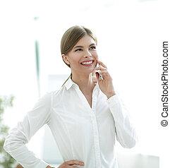 話し, 女, クローズアップ, 電話。, ビジネス