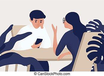 話し, 女, style., 彼女, 見る, 人, smartphone., 平ら, 彼の, モデル, ...