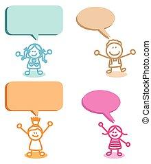 話し, 子供, スピーチ, グループ