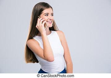 話し, 幸せ, 女性, 電話, ティーネージャー