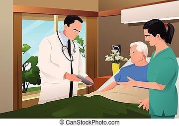 話し, 彼の, 患者, 医者