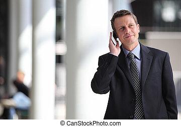 話し, 微笑, ビジネスマン, 電話