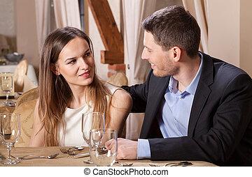 話し, 恋人, レストラン