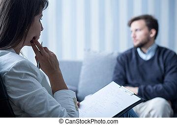 話し, 患者, 女性, 精神科医