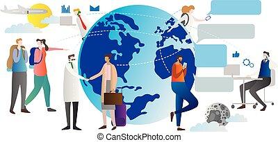 話し, 案, リンク, 接続, 社会, 夜, ベクトル, relations., のまわり, 日, globalisation, 人々, すべて, 網, works., illustration., 世界, 談笑する, いかに, globe.