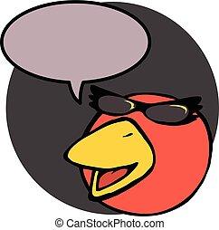 話し, 特徴, 鳥, 赤, 漫画