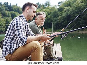 話し, 男性, 釣り, 一緒に