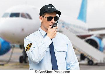 話し, 監視, トーキー, 肖像画, セキュリティー, walkie