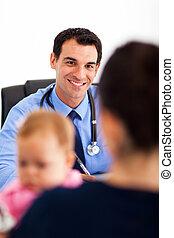 話し, 赤ん坊, 小児科医, 母