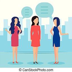 話し, 通り, 女性実業家, 優雅である