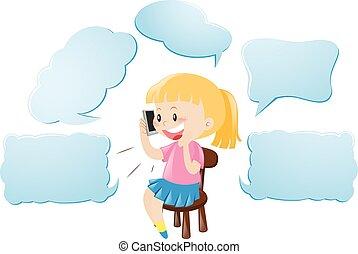 話し, 電話, スピーチ, テンプレート, 女の子, 泡