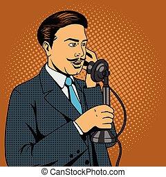 話し, 電話, ベクトル, 人, 型