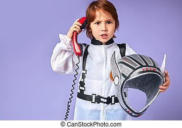 話し, 電話, 宇宙人, 男の子, わずかしか, landline, 深刻, スーツ