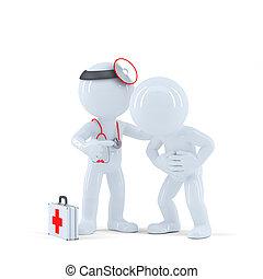 話し, 3D, 患者, 医者