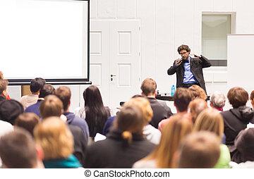 話し, conference., スピーカー, ビジネス