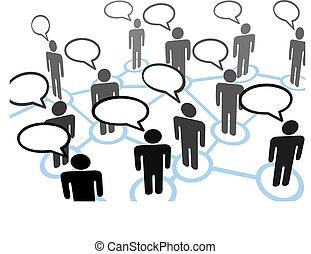 話し, everybodys, 泡, ネットワーク, コミュニケーション, スピーチ
