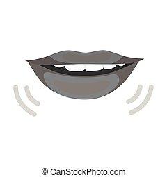 話すこと, 口, アイコン, 中に, モノクローム, スタイル, 隔離された, 白, バックグラウンド。, interpreter, そして, translator, シンボル, 株, ベクトル, illustration.