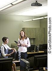 話すこと, 2, 実験室, 若い, コンピュータ, 女性